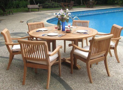 Browse A List Of The Best Outdoor Teak Dining Sets! New 7 Pc Luxurious  Grade A Teak Dining Set   Round Table And 6 Stacking Arbor Arm Chairs.