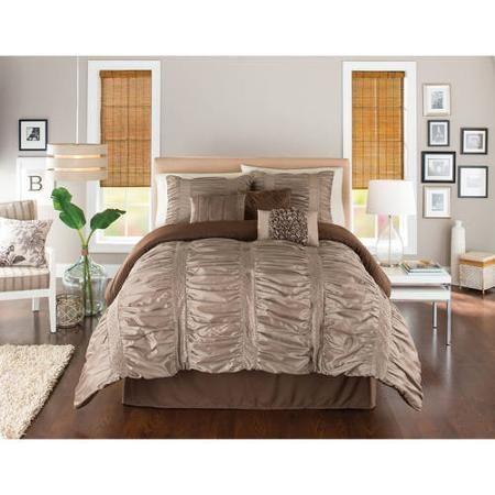 Better Homes Gardens Full Embroidered Ruching Comforter Set 7 Piece Walmart Com Bed Comforters Bed Comforter Sets Comforter Sets