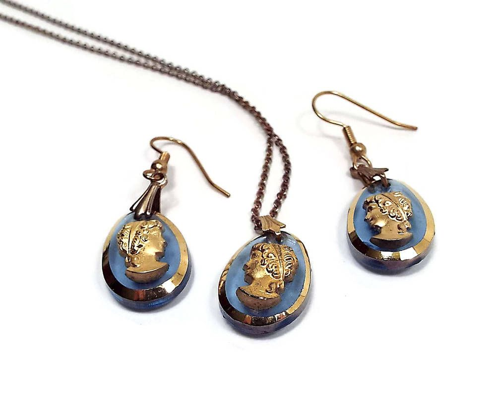 Vintage cameo jewelry set pierced earrings and pendant necklace blue