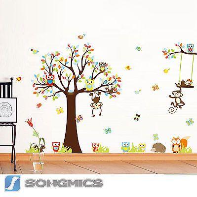 Wandtattoo wald tiere baum affe eule baby kinderzimmer sticker deko xxl fwt12c in möbel wohnen