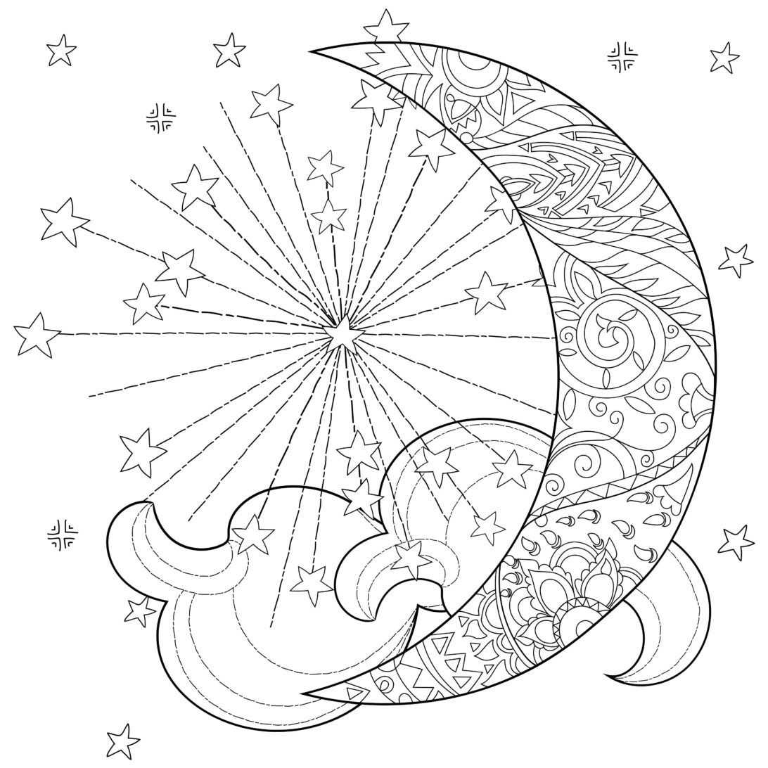 Celestial Moon Coloring Pages For Adults colouring
