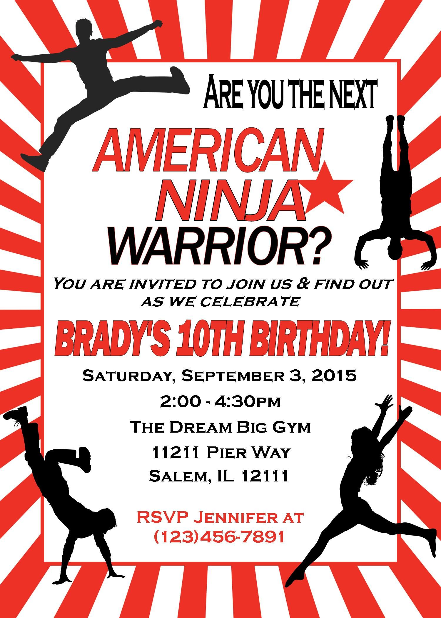 American Ninja Warrior - Birthday Invitation - Digital File - You Print