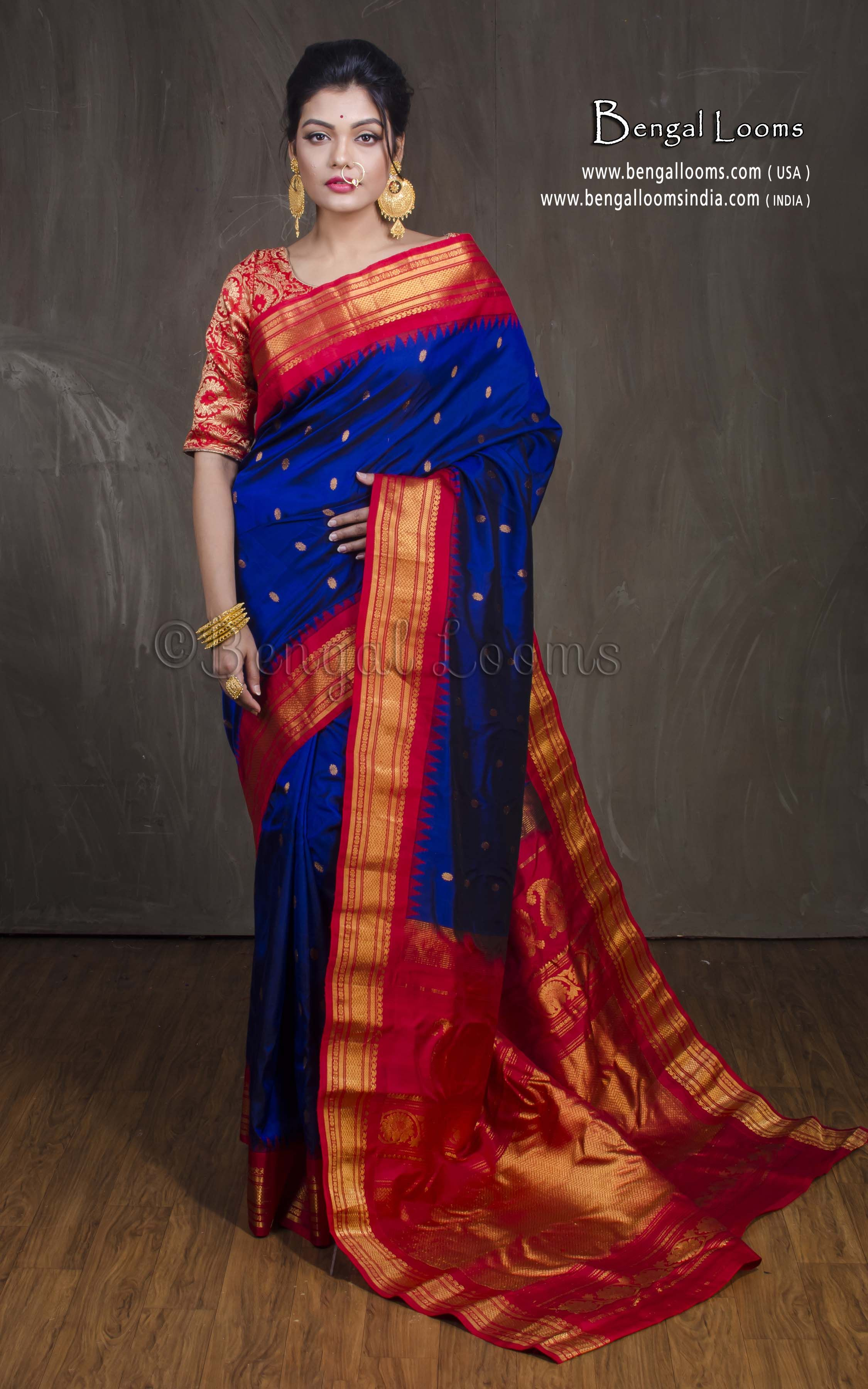 b49bcb0a4d Premium Quality Gadwal Silk Saree in Dark Blue and Red. Website :-  www.bengallooms.com