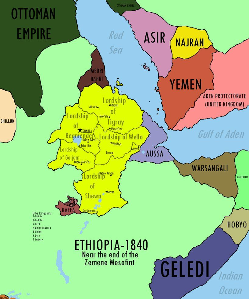 Map of Ethiopia and Surrounding States in 1840 | MAPS | Map ...