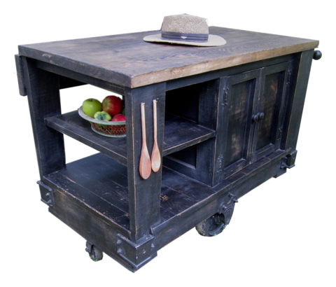 Kitchen Cart Wes Dalgo Distressed Black Modern Rustic Kitchen - Rustic kitchen island for sale
