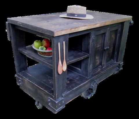 Kitchen Cart Wes Dalgo Distressed Black Modern Rustic Kitchen