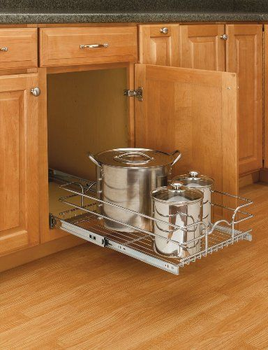 12 Inch 20 Inch Depth Pull Out Chrome Basket W Full Extension Slides By Rev A Shelf 42 98 Bottom Mount Sin Rev A Shelf Sliding Shelves Kitchen Base Cabinets
