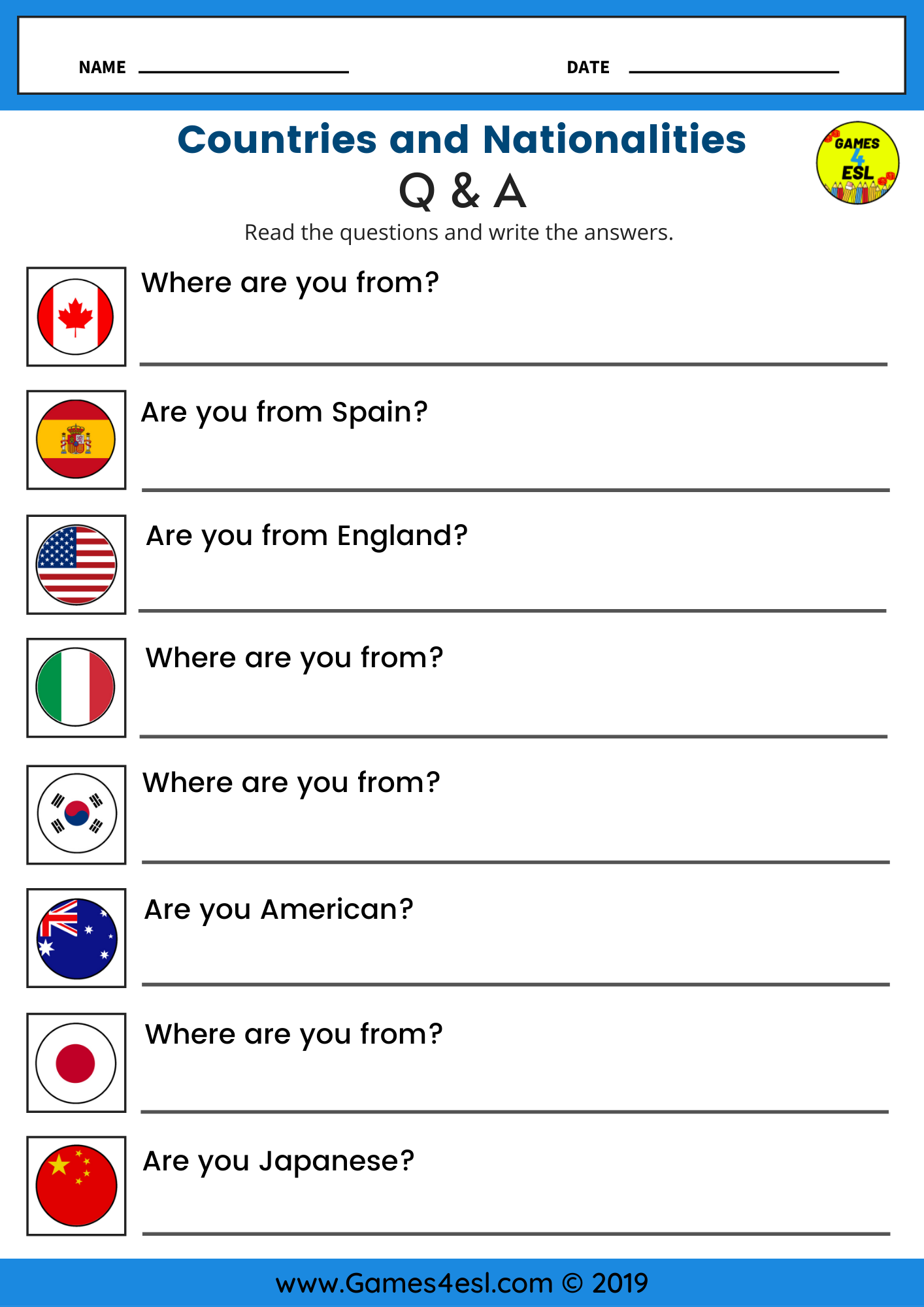 Countries And Nationalities  ESL Worksheet For Beginners  Esl