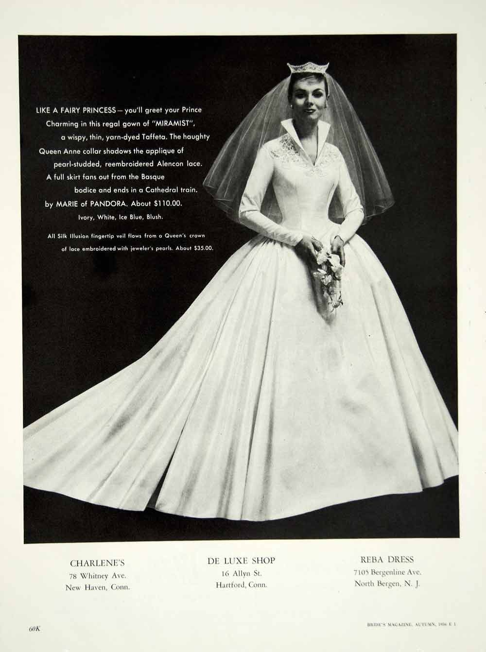 1956 Ad Vintage Marie Of Pandora Wedding Dress Bride Bridal Fashion Ve Pandora Wedding Vintage Wedding Photos Bridal Style [ 1342 x 1000 Pixel ]