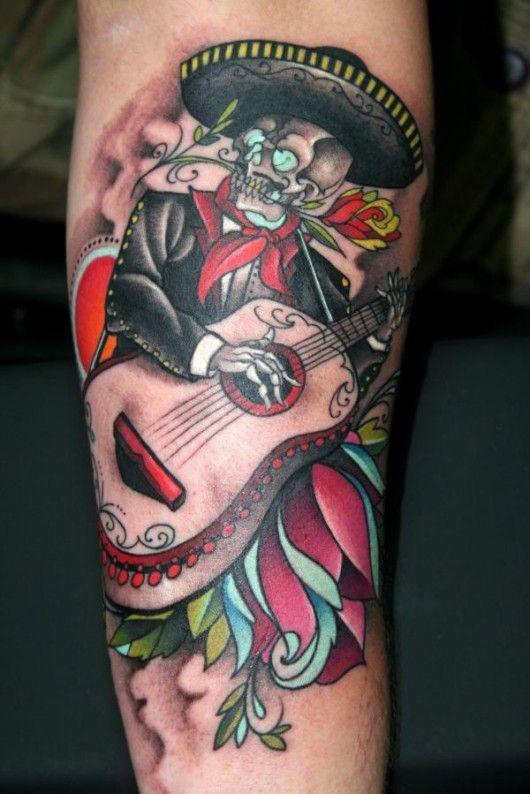 Mariachi Sugar Skull Tattoos Sugar Skull Tattoos Guitar Tattoo Design