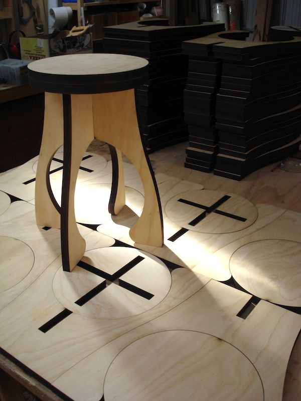 Flat Pack Stool Laser Cut Plywood 家具 Plywood Furniture