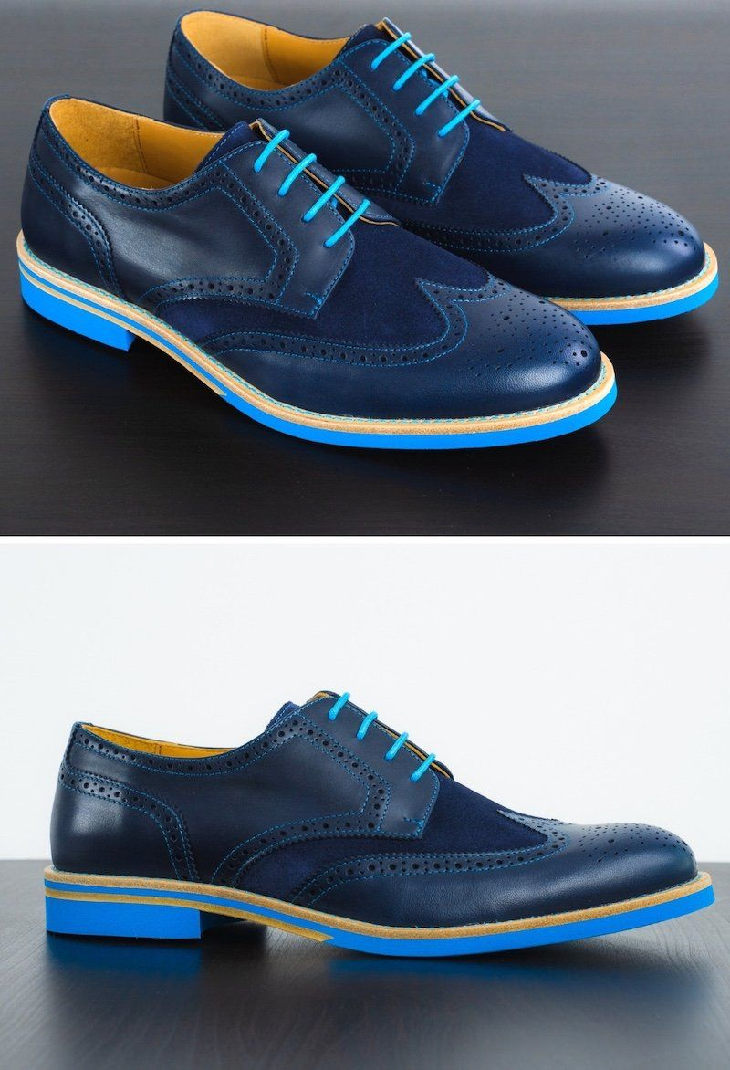 Mens Blue Leather Wingtip Dress Shoes (With images) Monk