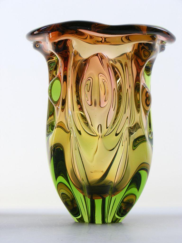 Chribska topaz and green Bohemian glass vase | vintage, Czechoslovakia