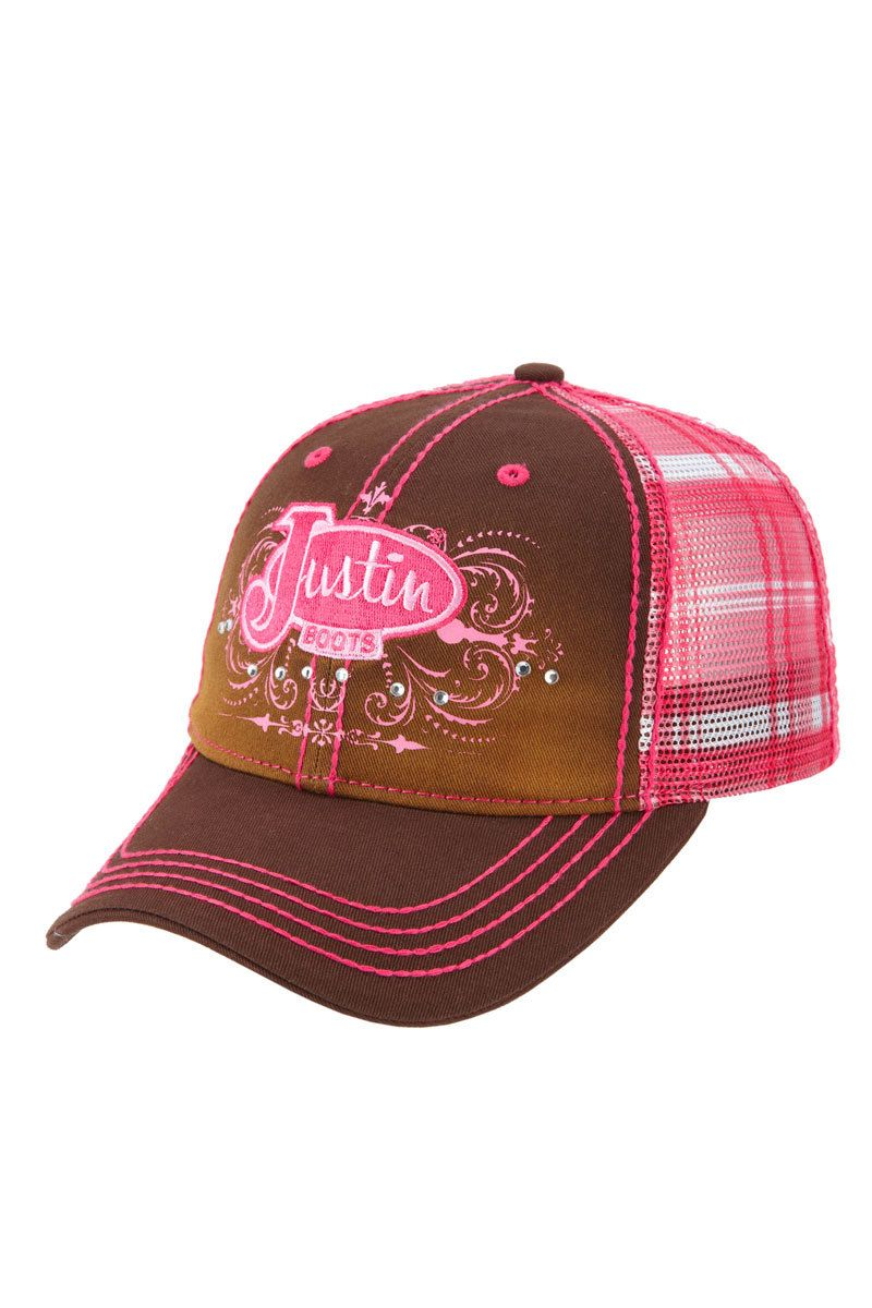 fbbffe783d2ae Justin Boots Women s Pink Plaid Ball Cap