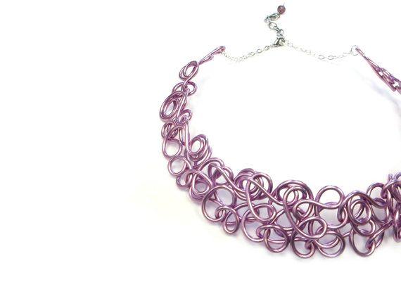 #YellowShoesLane #etsycolorado #etsyfinds   Lilac Wire Collar Necklace Purple Choker by YellowShoesLane