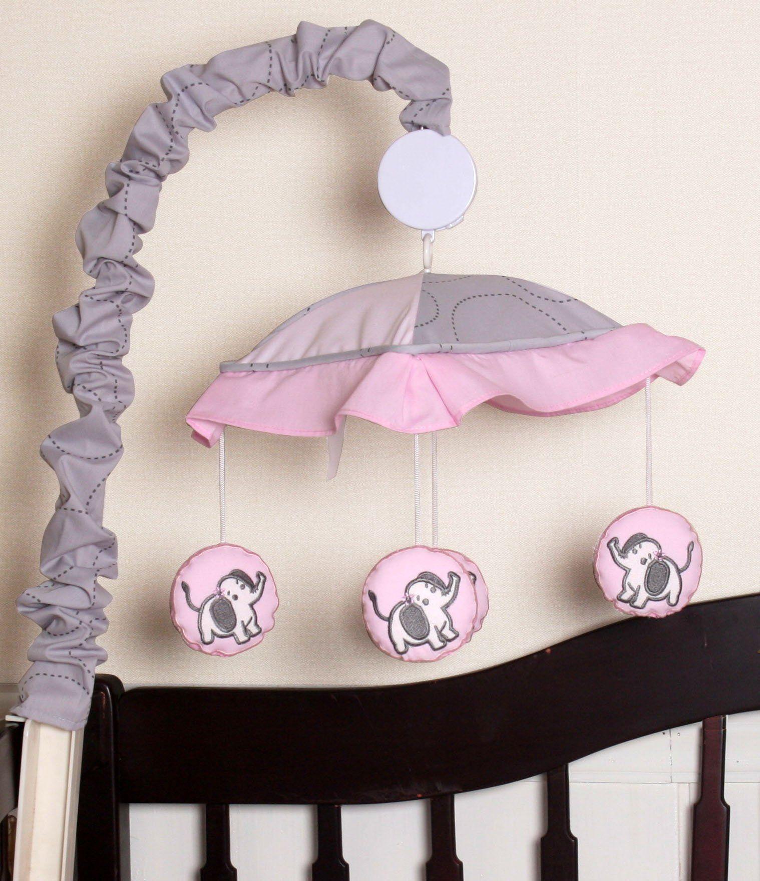 Boutique Pink Gray Elephant 13Pcs Crib Bedding Sets * Click