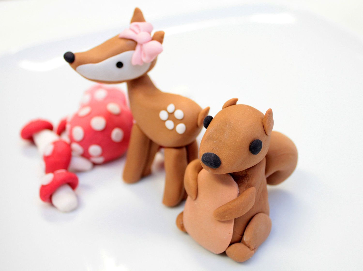 Deer Fondant Cake Topper with a fox a bear an owl and a
