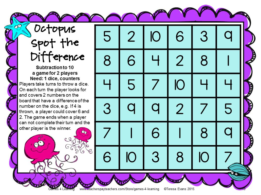 Ocean Animals Subtraction Board Games: Subtraction Games for ...
