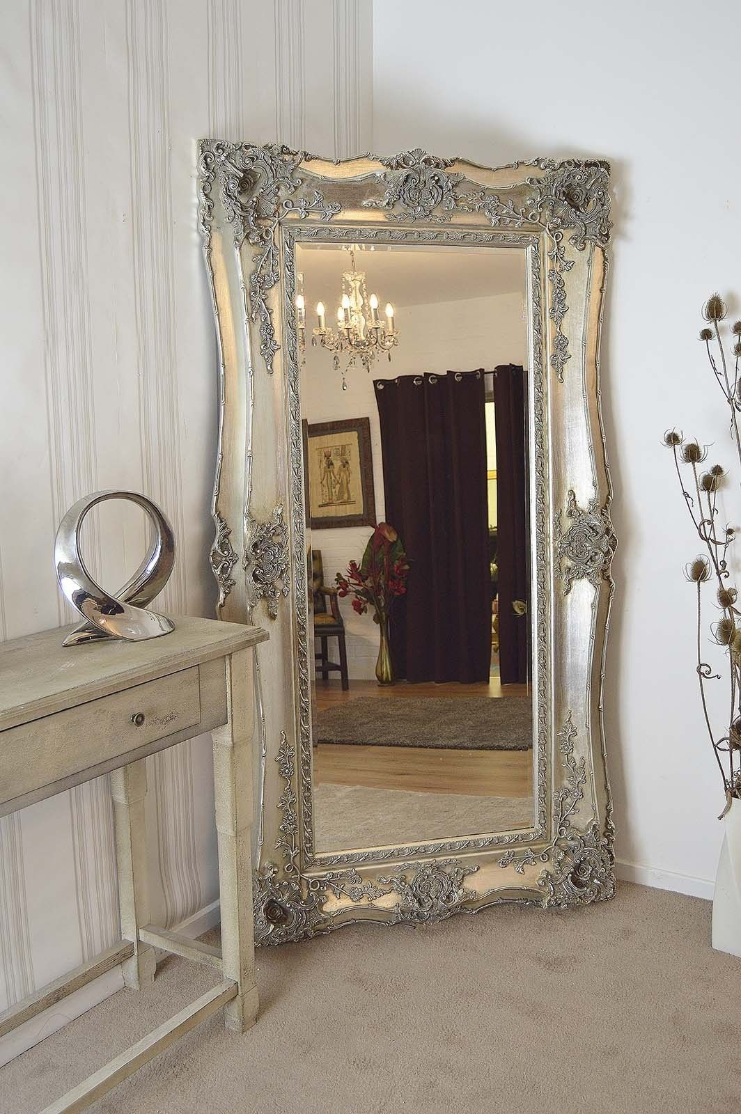 Large Silver Ornate Wall Mirror Large Wall Mirror Mirror Wall Living Room Living Room Mirrors #silver #mirror #living #room