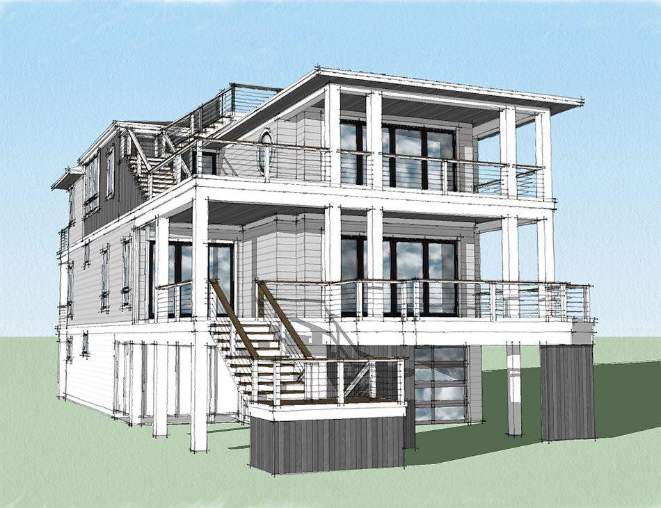 Blackfin Channel Coastal Home Plans Beach House Floor Plans Coastal House Plans Modern Beach House