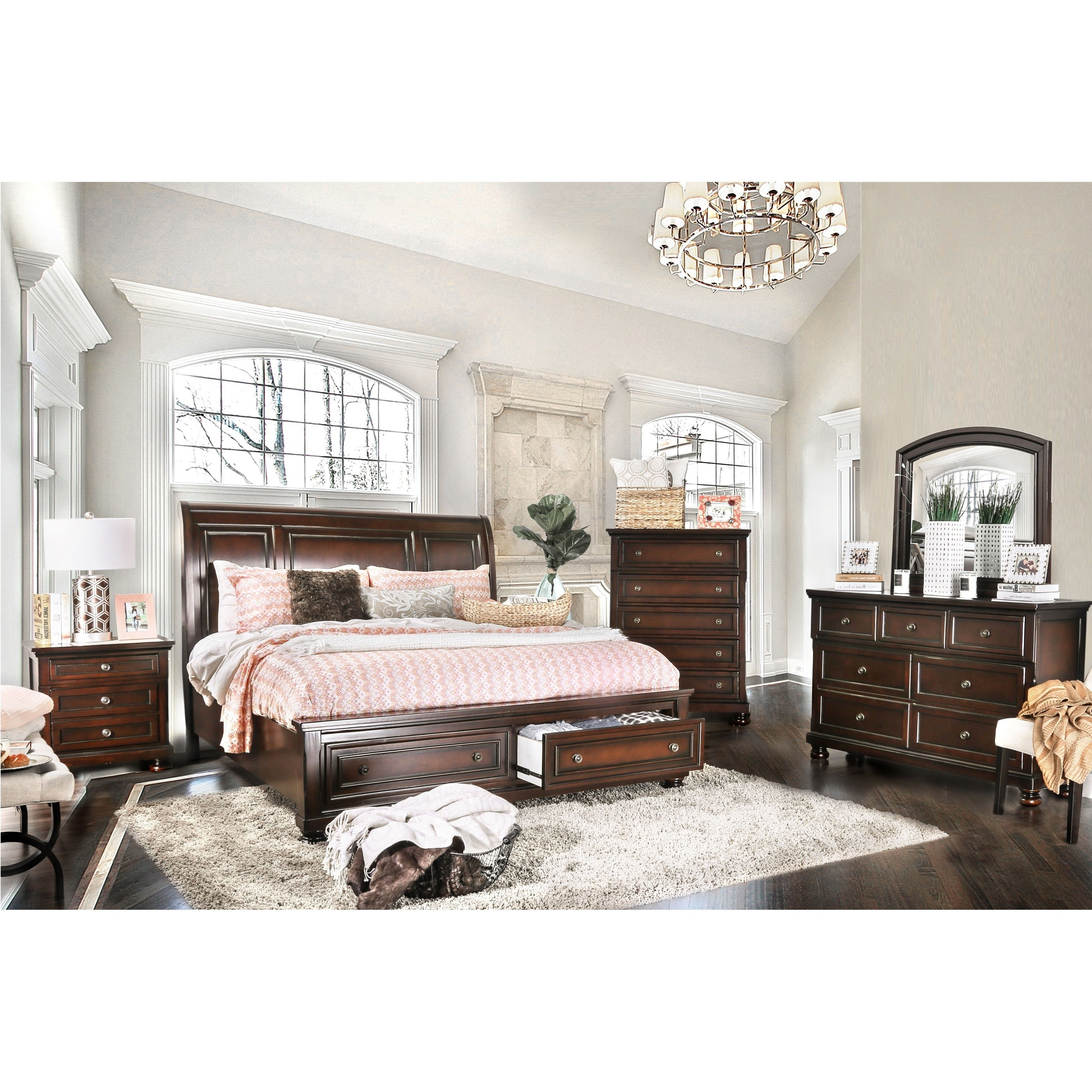 Best Furniture Of America Barelle I Cherry 4 Piece Bedroom Set Bedroom Furniture Sets Furniture 640 x 480