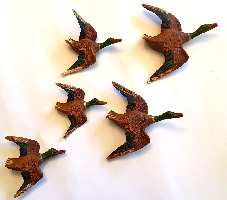 Vintage Carved Mallard Ducks in Flight Folk Art Wall Decor by ...