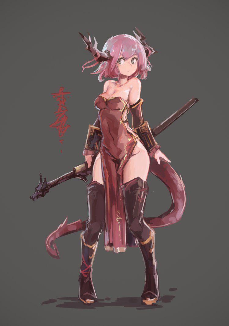red dragon girl by rkeg fantasy medieval etc