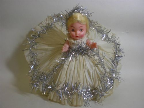 VINTAGE CHRISTMAS TREE FAIRY TOPPER.FULL CREPE PAPER DRESS