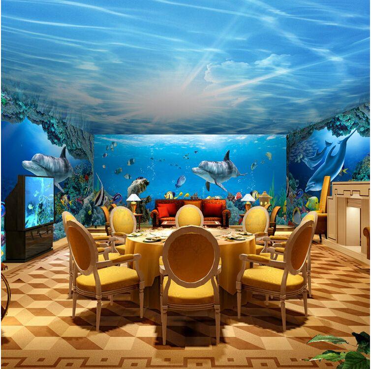 Seamless 3D Stereoscopic Large Mural Wallpaper Underwater World Marine Fish Living  Room Childrenu0027s Room TV Background