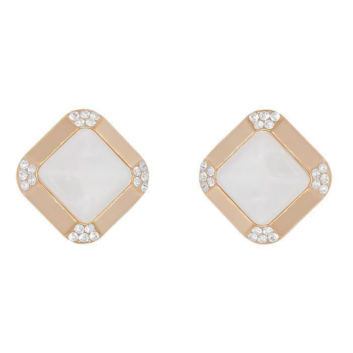 e1f2f61b703ce Clear Crystal Stud Square Earrings in 14K Gold Plated | Bling Bling ...