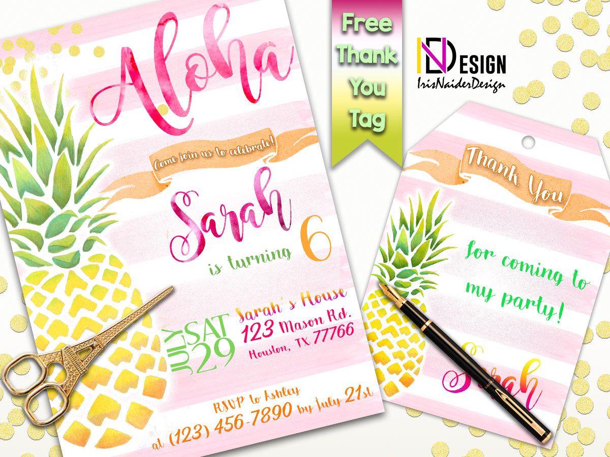 pineapple invitation aloha invitation hawaiian birthday invitation