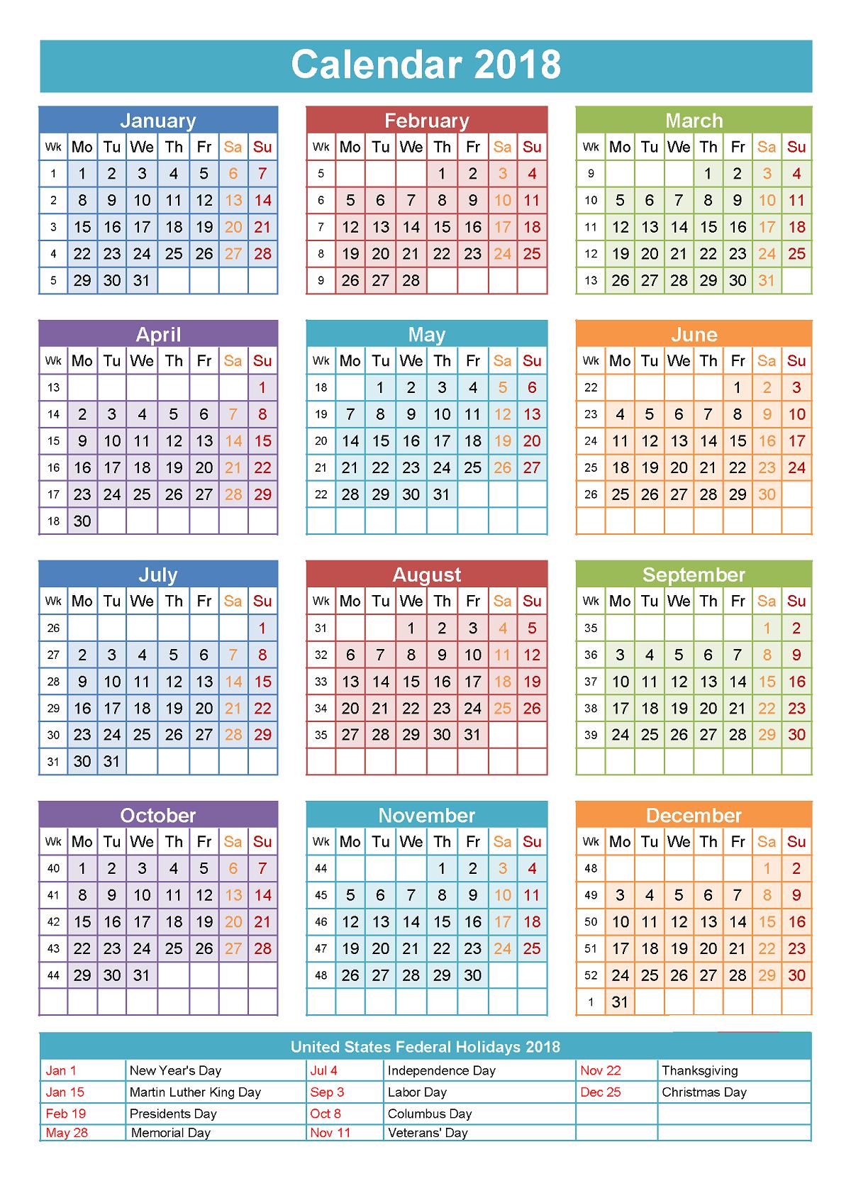 Free Calendars 2018 Printable Yearly Calendar Template Printable Yearly Calendar Calendar Printables