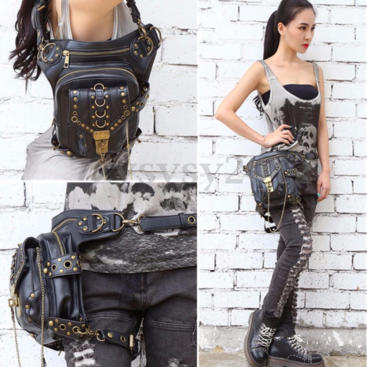 f3baaae11ac Details about UK Women Steampunk Belt Bag Leather Waist Leg Hip ...