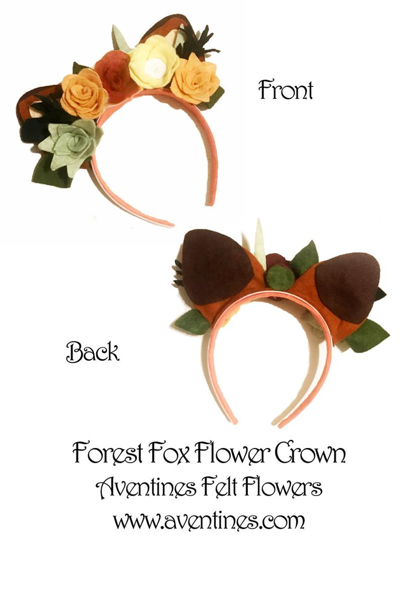Fox Ears felt flower crown #crownheadband