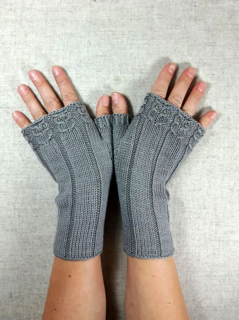 Bio Fingerlose Handschuhe Kleine Eulen Fingerless Gloves For Women