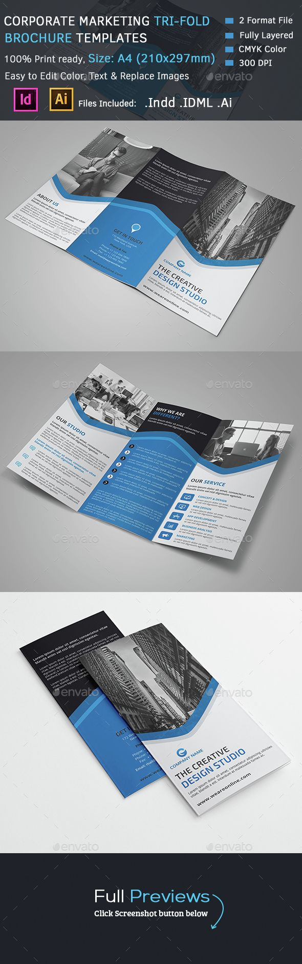 tri fold brochure template indesign