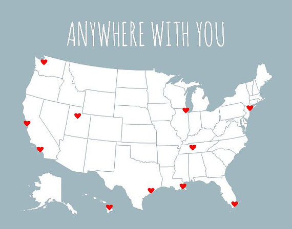 DIY Couples Travel Map USA Map Valentines Gift For Him - United states travel map