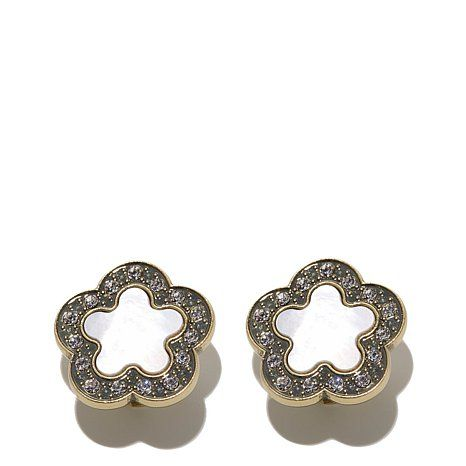 Heidi Daus Easy Does It Mother Of Pearl Button Earrings Pearl