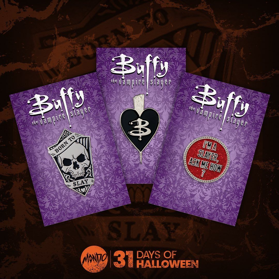 Fight Evil Our Buffy The Vampire Slayer Enamel Pins By Sara Deck Art Are On Sale Now Mondotees Com 31daysofhalloween In 2020 Fight Evil Buffy Vampire Slayer