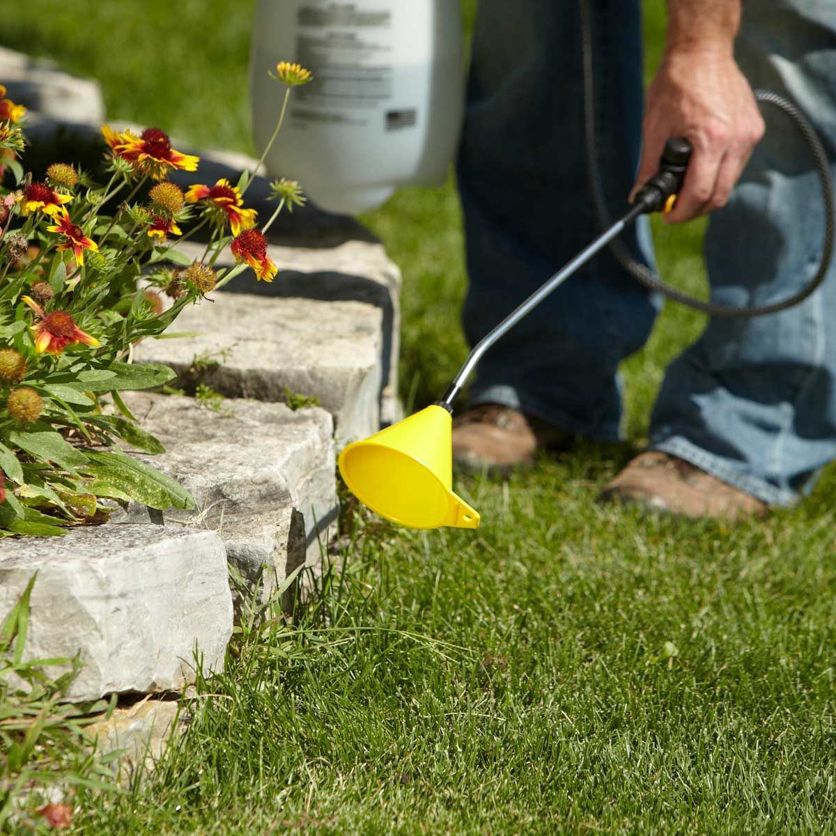 Lawn Chemical Overspray Prevention is part of lawn Space Tips - This trick will help protect plants and flowers