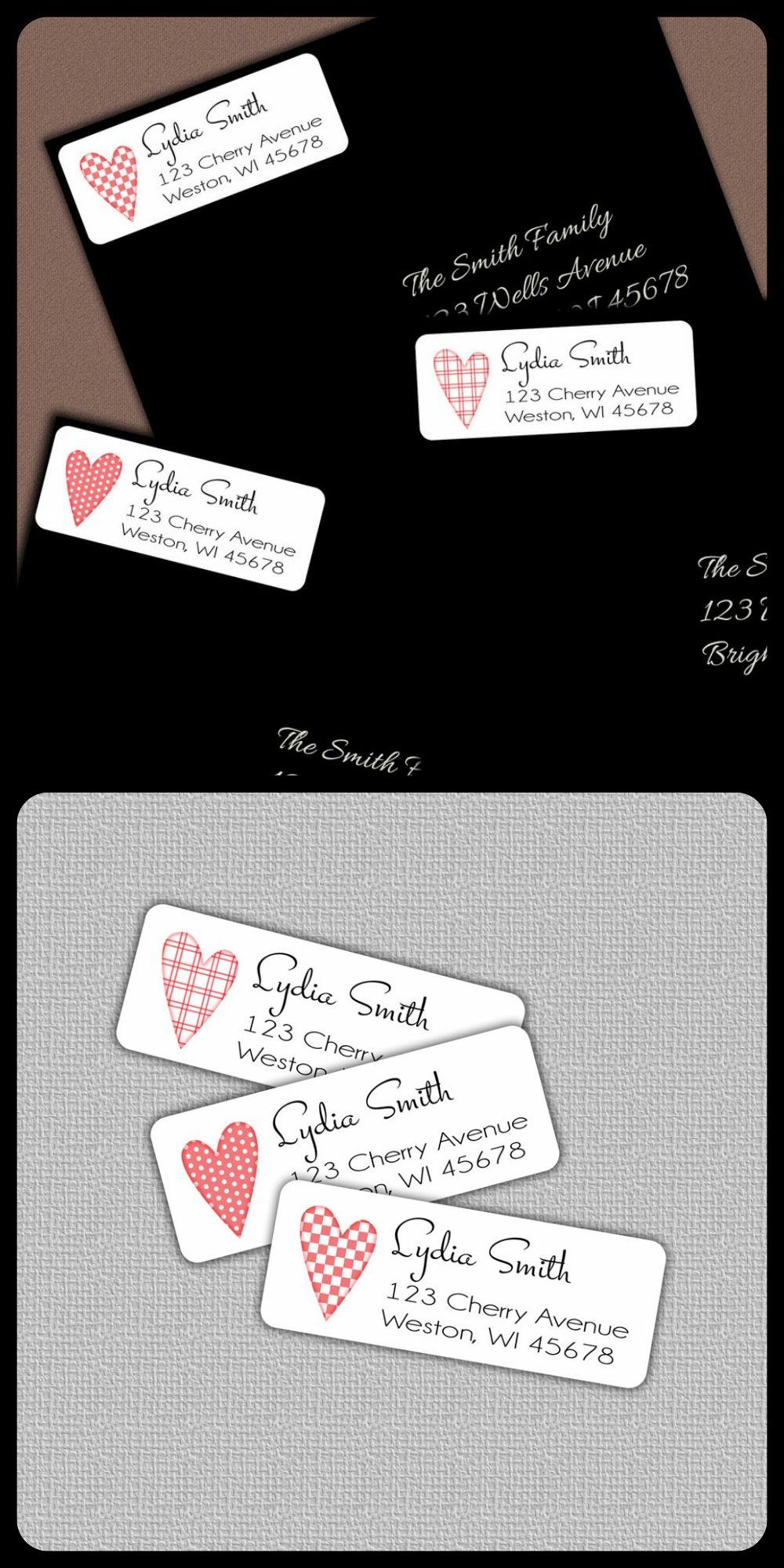 Valentine personalized address labels pastel heart design label