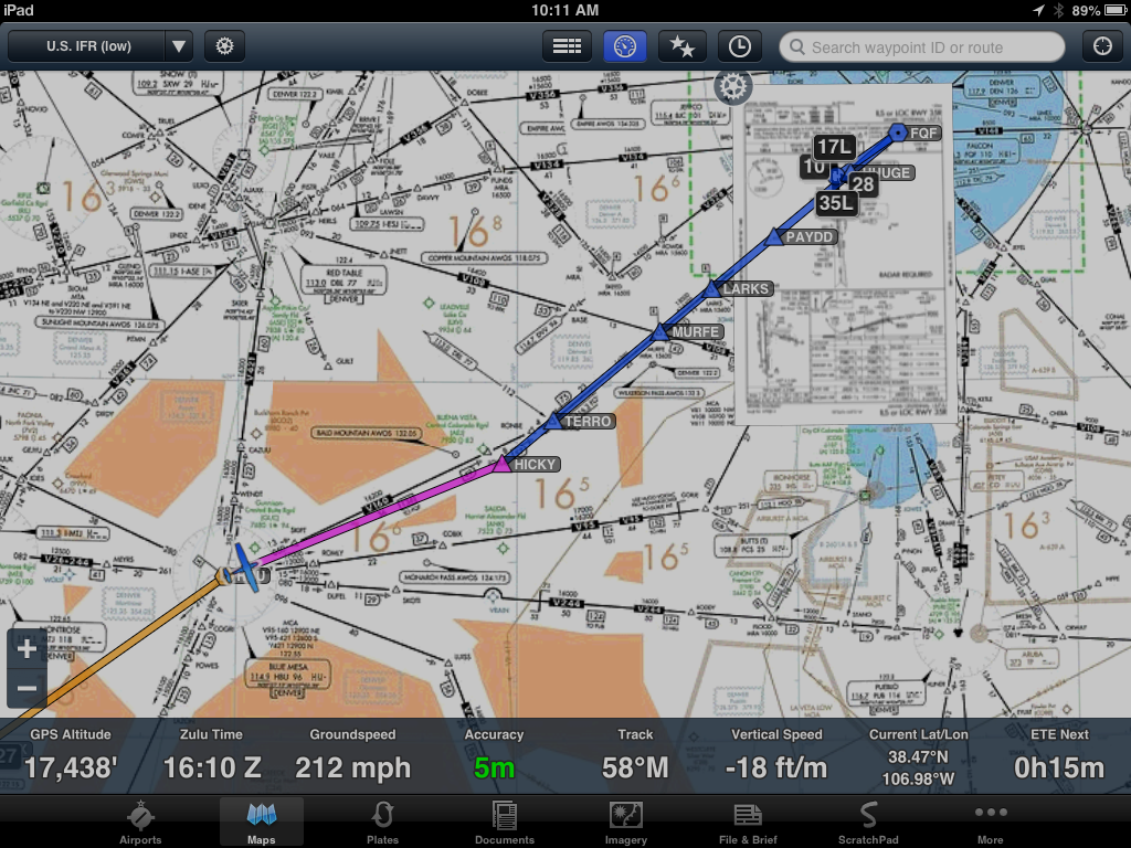 One of my flights home on ForeFlight