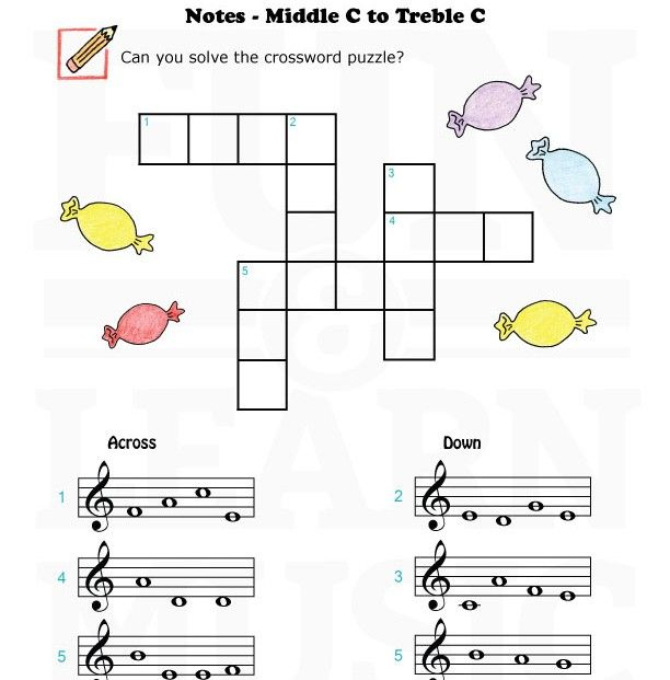 Music-Worksheets-Notes-TrebleClef-MC-TC-005 | Teaching ideas ...