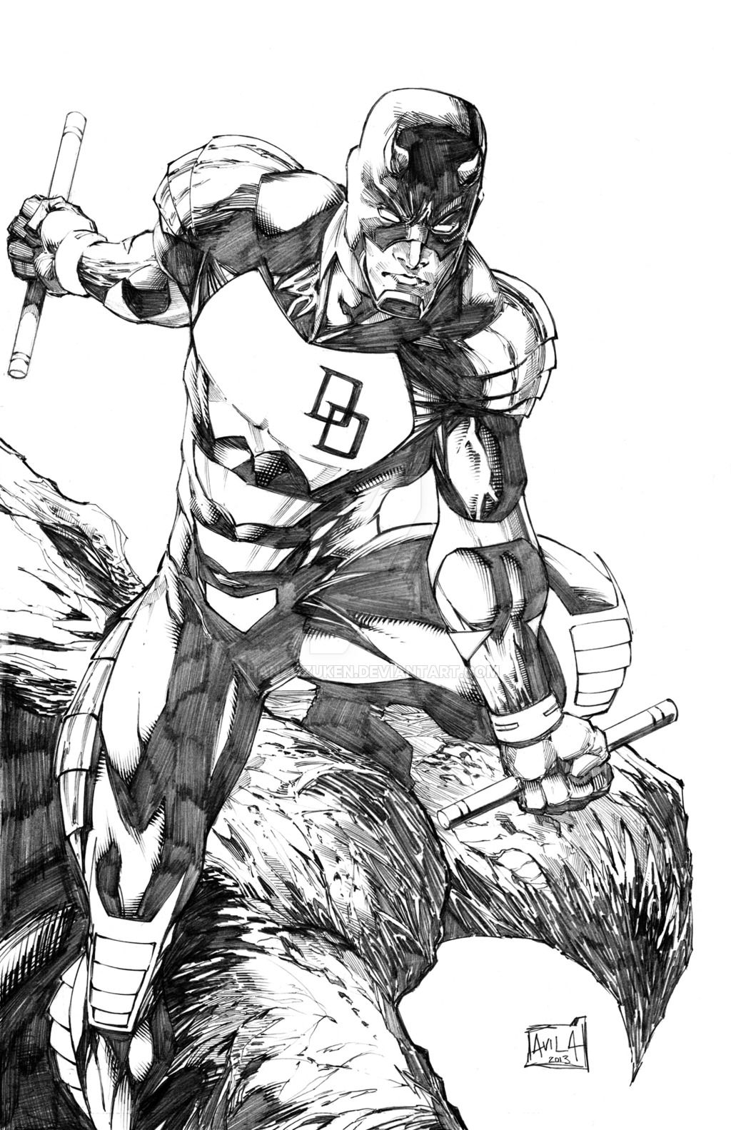 armored daredevil pencils by hanzozuken lineart daredevil
