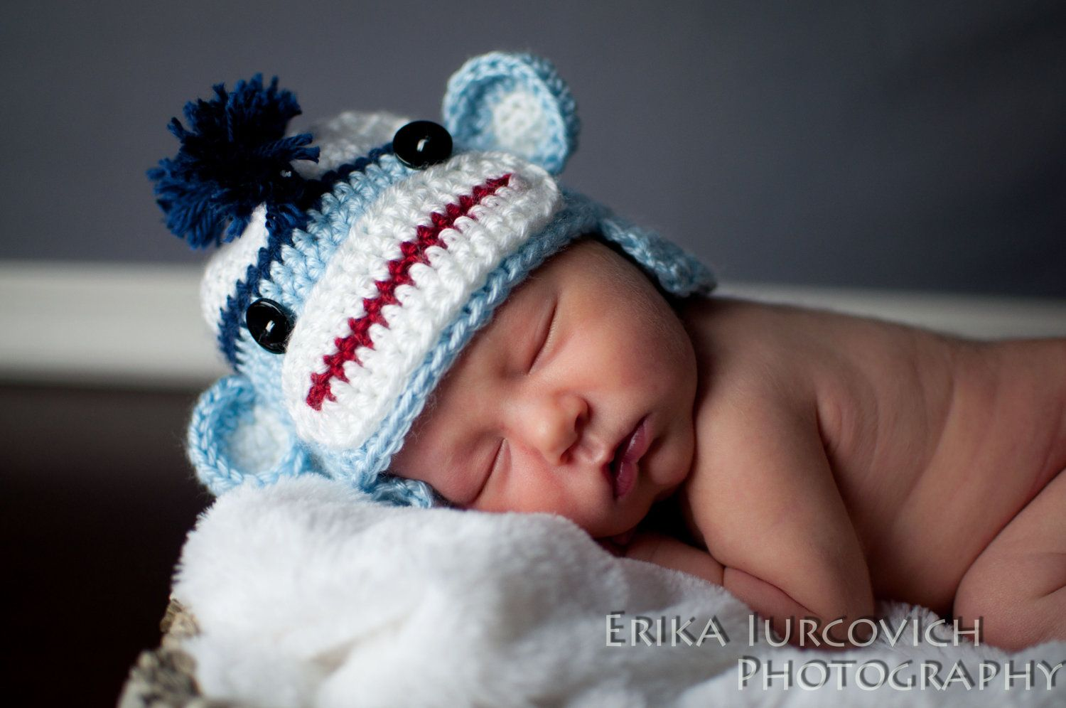 Mohawk sock monkey baby boy hat halloween costume crochet blue hat