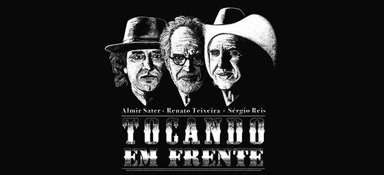 """Almir Sater, Renato Teixeira e Sérgio Reis apresentam o show """"Tocando em Frente"""" no Citibank Hall, em São Paulo"""