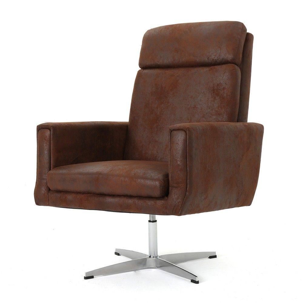Horatia modern swivel accent chair brown christopher knight home