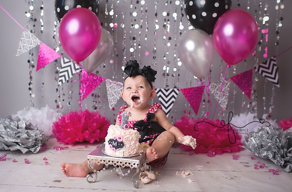 Hot Pink Black Grey Minnie Mouse Glam Smash Cake Photography Session Ct