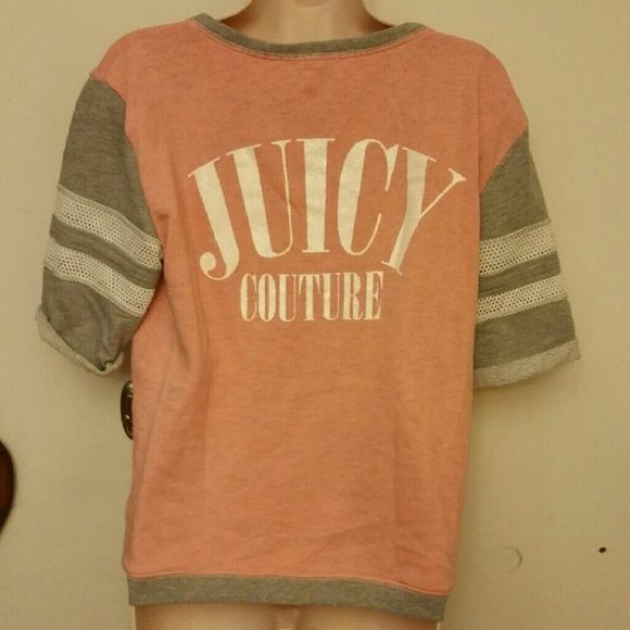 Juicy Couture sweatshirt Peach, grey & white Juicy Couture short sleeve sweatshirt with juicy couture written on back in white glittery letters size medium. Juicy Couture Tops Sweatshirts & Hoodies