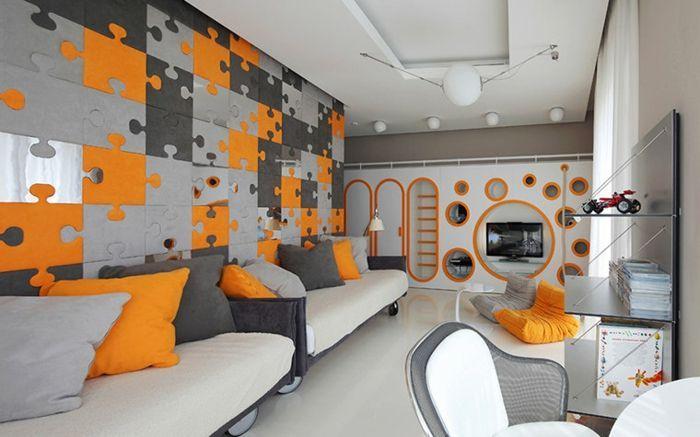Incroyable Peinture Chambre Garcon, Peinture Moderne Chambre Ado, Puzzle Mural En Gris  Et Orange, Poufs